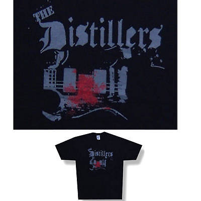 THE DISTILLERS! BLOODY GUITAR BLACK T-SHIRT LARGE NEW SALE