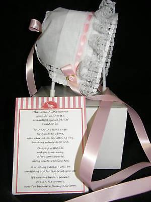 Keepsake Handkerchief Christening Bonnet Lace With Pink
