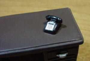 Desk Phone Miniature Black 1/24 Scale G Scale Diorama Accessory Item