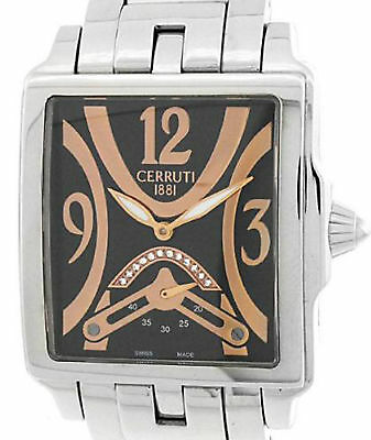 CERRUTI PRESTIGE SCALA LADIE'S DIAMOND SWISS MADE BLACK WATCH NEW SS CT100762S06