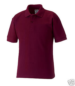 Russell 539b plain burgundy school polo shirts 3 12yr ebay Burgundy polo shirt boys