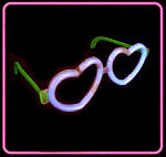 25 x GLOW HEART GLASSES, UV PARTY GLOW STICKS CONNECTOR