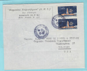 Somali-Coast-Sc-265-on-1957-Air-Mail-Cover-to-Delaware