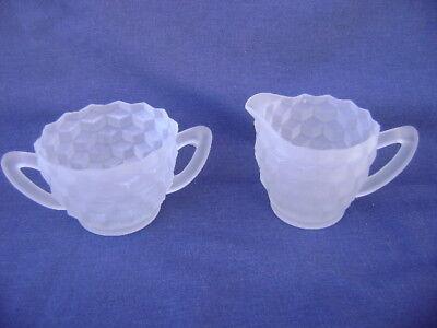 Vintage Jeannette Glass Cubic  Frosted Creamer & Sugar Bowl Set