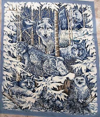 SNOW WOLF Fabric panel MID WINTER DREAM QUILT TOP  wall hanging  BTP BEAUTIFUL