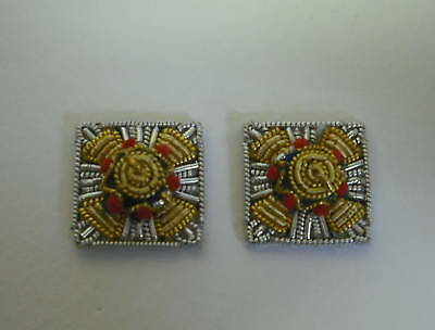MESS DRESS PIPS, PAIR, OFFICERS RANK, SILVER AND GOLD