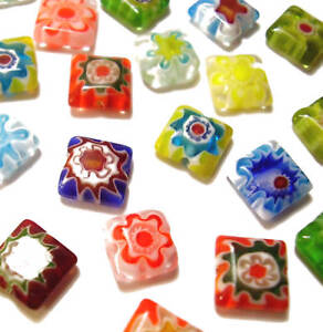 20-8mm-Millefiori-Square-Flat-Flower-Glass-Beads-Mixed-Pack