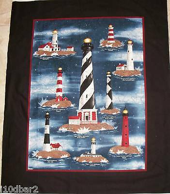 LIGHTHOUSE fabric HARBOR LIGHTS FABRIC panel quilt TOP Wallhanging 9 lighthouses