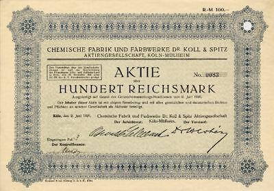 Chemische Fabrik und Farbwerke Dr. Koll & Spitz AG Köln Mülheim Aktie 1926 BASF