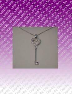 STERLING-SILVER-amp-DIAMOND-HEART-KEY-PENDANT-NECKLACE