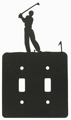 Male Golf Black Metal Double Light Switch Plate Cover