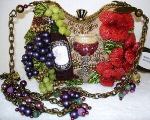 Mary-Frances-Perfect-Pairing-Red-Wine-Bag-Flower-Handbag-NEW-Bead-Purse-Vino