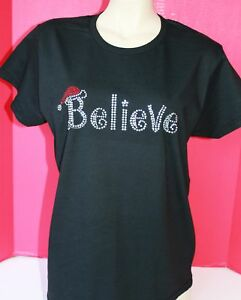 image is loading rhinestone believe christmas t shirt women plus new