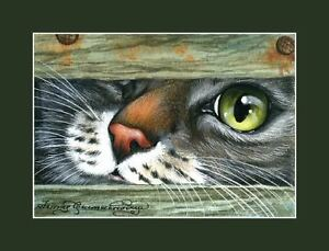 Tabby-Cat-ACEO-Print-Curious-Nose-by-I-Garmashova