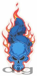 Evil-BLUE-FLAMING-SKULLS-Surfboard-Sticker-Skateboard-BIKER-Decal