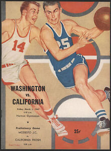 1963 Washington vs Cal Basketball Game Program
