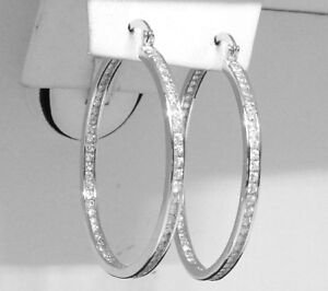 Inside Out Diamonique CZ Hoop Earring Silver 1.5