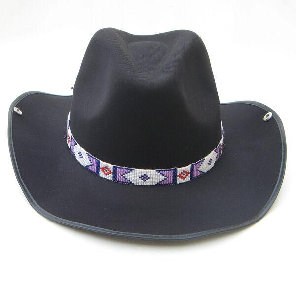 Pink Purple Beaded Billy Jack Style Hatband Belt