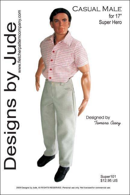 Casual Male Doll Clothes Sewing Pattern 17 Super Heros & Jacob Black Tonner