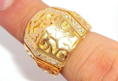 Technibond Filigree Cz Ring 14k Yellow Silver Sz 7