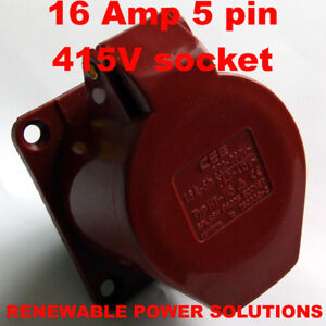 16-AMP-415V-5-PIN-PANEL-SOCKET-RED-3-PHASE-HT-115-16A
