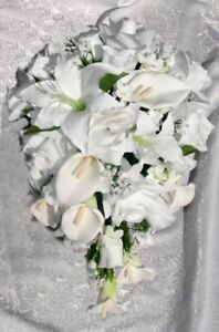 White-CALLA-LILY-Lilies-Roses-Bridal-Cascade-BOUQUET-Silk-Wedding-Flowers-PRETTY