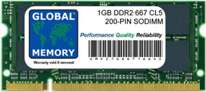 1GB DDR2 667MHz PC2-5300 200-PIN SODIMM MEMORY RAM FOR LAPTOPS/NETBOOKS