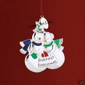 LENOX 2008 Our First Christmas  Snow Couple Ornament  eBay