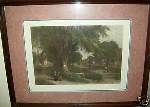 034-THE-VILLAGE-ELMS-034-SUNDAY-MORNING-IN-NEW-ENGLAND-h-colored-engraving