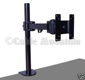 Black-Height-Adjustable-Monitor-Desk-Stand-with-Clamp-Tilts-Swivels-amp-Rotates