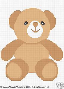 Teddy Bear Color Graph Chart Baby Afghan Pattern Easy Ebay