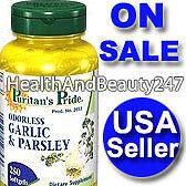 Odorless-GARLIC-PARSLEY-250-Softgels-Cardio-Supplement