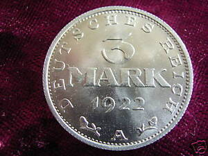 Weimar-Republic-Aluminium-3-Mark-1922-A-BU