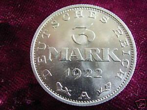 Weimar-Republic-Aluminium-3-Mark-1922-A-BU