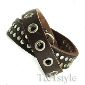 TRENDY-T-T-BROWN-Leather-Bracelet-Wristband-NEW