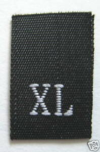 100-WOVEN-CLOTHING-LABELS-SIZE-TAGS-X-LARGE-BLACK