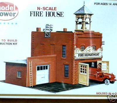 Model Power N Scale Fire House Plastic Kit - NOS Toys