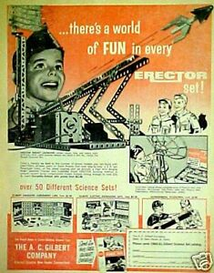 1960-Gilbert-Erector-Set-Rocket-Launcher-Microscope-Astronomical-Telescopes-AD