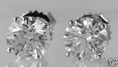 20.14 ct GIA F VS1 round diamond solitaire stud earrings platinum screw backs
