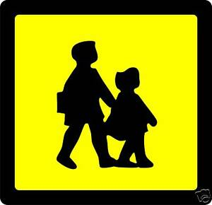 School Bus Warning rigid sign 2 x 25x25cm PSV Coach mini bus nursery taxi