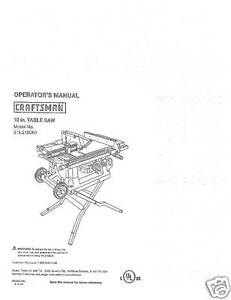 Sears Craftsman Table Saw Manual Model # 315.218060