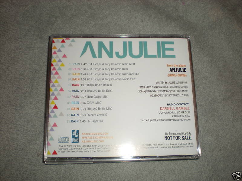 Anjulie Rain - 11 track CD SINGLE - DJ Escape Tony C