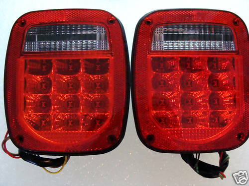 jeep wrangler led tail lights red lens tj cj yj mj ebay. Black Bedroom Furniture Sets. Home Design Ideas