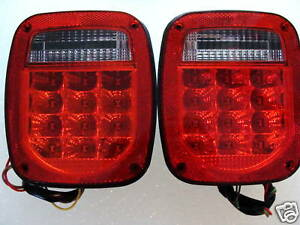 Jeep Wrangler LED TAIL LIGHTS RED LENS TJ CJ YJ MJ