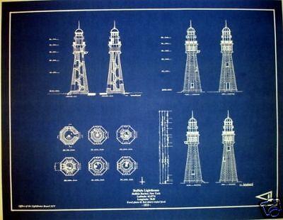 "Lighthouse at Buffalo Harbor New York Blueprint Plan 17""x22"" (278)"