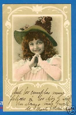 Mädchen mit Hut, versandt 1905 in Buenos Aires !