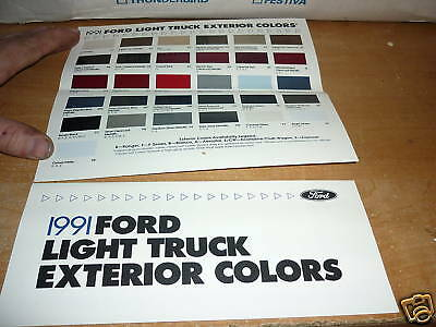 1991 Ford Bronco Ii F150 F250 F350 Color Chart Brochure