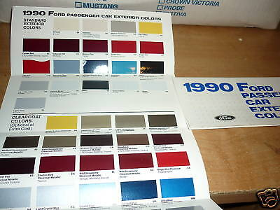 1990 Ford Mustang Probe Thunderbird Escort Color Chips Chart Brochure