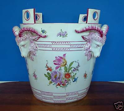 Ludwigsburg Porcelain Monumental Milk Bucket Jardiniere - Height 14.8 In. 19th C