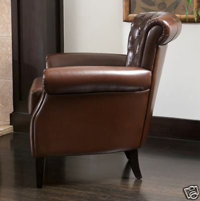 gorgeous royal design tufted brown leather club chair ebay